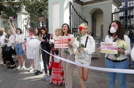 Акция в поддержку протестующих в Белоруссии в Москве.