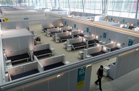 Временный госпиталь для больных коронавирусом, организованный в конгрессно-выставочном центре «Сокольники».