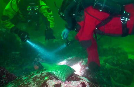 Водолазы во время забора образцов грунта дна в акватории Авачинской бухты.