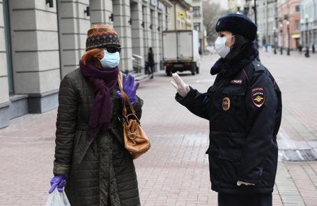 Во время профилактического рейда по соблюдению режима самоизоляции в Москве. Апрель 2020 года.