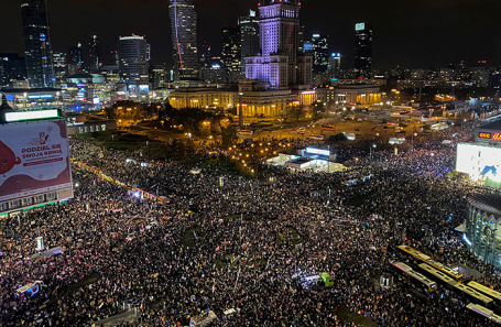 Демонстрация в Варшаве.