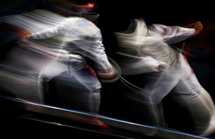 Соревнование по фехтованию в рамках Игр Юго-Восточной Азии в Куала-Лумпуре, Малайзия.