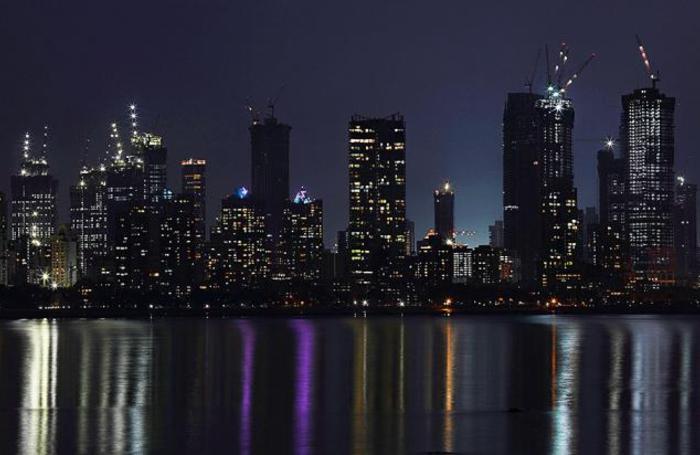 Вид центрального финансового района Мумбаи, Индия.