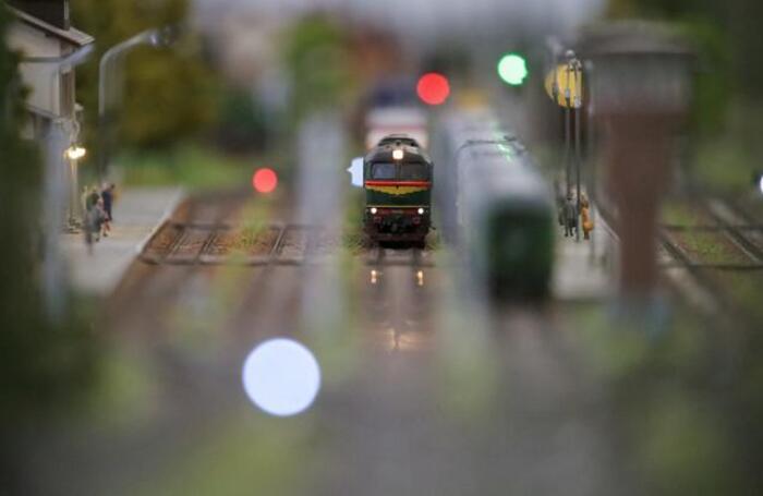 Макет железной дороги на фестивале железнодорожных моделей в Российском университете транспорта.
