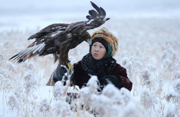 Участник традиционного состязания охотников в Алматинской области.