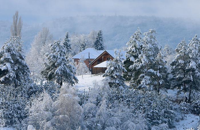Зима в хорватском городе Слунь.