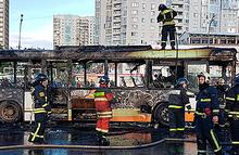 У ТРК «Авеню» в Москве сгорел пассажирский автобус