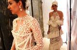 Модели на показе свадебных платьев, сделанных из туалетной бумаги, в Нью-Йорке, США.