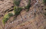 Люди поднимаются вверх по веревке в горах Циньяо за пределами Лоян, провинция Хэнань, Китай.