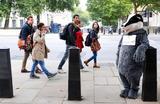 Человек в костюме барсука на улице в Лондоне, Великобритания.