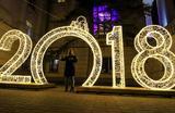 Праздничные украшения нового года в Севастополе, Крым.