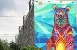 30-метровое граффити с медведем к ЧМ-2018 на стене жилого дома №87/49 на улице Профсоюзная. Мексиканский художник Фарид Руэда изобразил Россию, принимающую чемпионат мира по футболу, в виде медведя, который держит в лапах футбольный мяч, олицетворяющий земной шар.