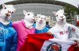 Перуанские болельщики у стадиона «Екатеринбург Арена» перед матчем группового этапа чемпионата мира по футболу - 2018 между сборными командами Франции и Перу 21 июня 2018 года.