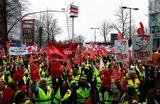 Забастовка работников сети супермаркетов Real в Дюссельдорфе, Германия.