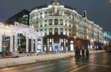 Искусственный снег в Москве на Тверской улице.