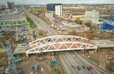 Вид с квадрокоптера на строительство транспортной развязки на пересечении Ленинградского шоссе и улицы Репина в Химках.