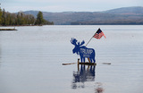 Предвыборная агитация на озере Рэнджли, штат Мэн, США.